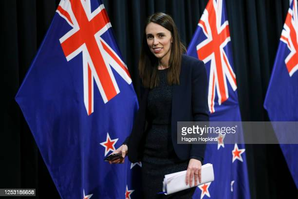 Prime Minister Jacinda Ardern leaves a post cabinet press conference at Parliament on June 29, 2020 in Wellington, New Zealand. Prime Minister...