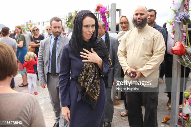Prime Minister Jacinda Ardern leaves after a visit to the Kilbirnie Mosque on March 17 2019 in Wellington New Zealand 50 people are confirmed dead...