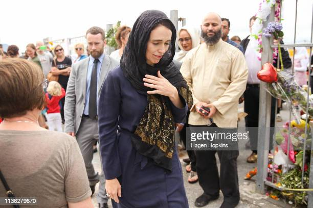 Prime Minister Jacinda Ardern leaves after a visit to the Kilbirnie Mosque on March 17, 2019 in Wellington, New Zealand. 50 people are confirmed dead...