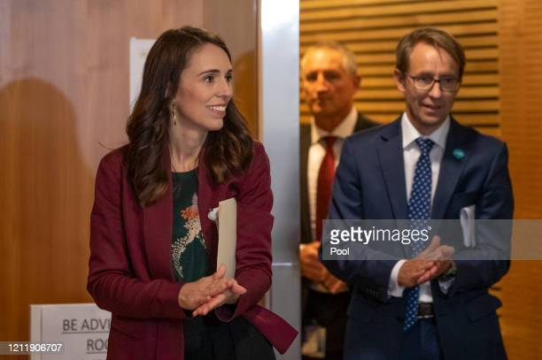Prime Minister Jacinda Ardern leaves after the All of Government Covid19 update and media conference with Director General of Health Dr Ashley...