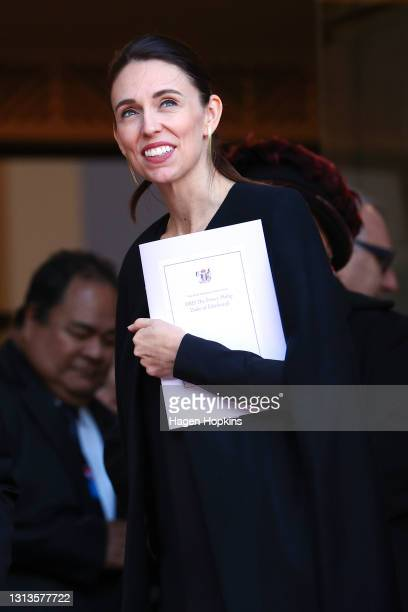 Prime Minister Jacinda Ardern looks on after the State Memorial Service for Prince Philip, Duke of Edinburgh, at the Wellington Cathedral of St Paul...