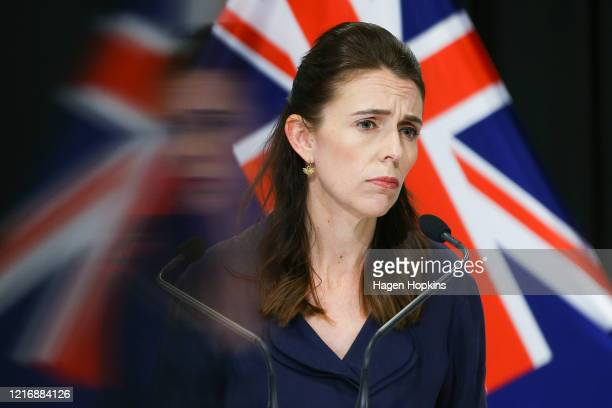 Prime Minister Jacinda Ardern looks on during a press conference at Parliament on April 05 2020 in Wellington New Zealand New Zealand was placed in...