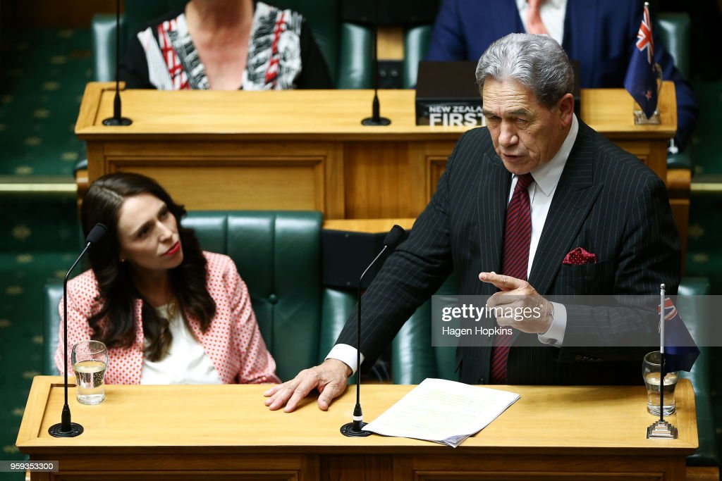 Prime Minister Jacinda Ardern looks on while Deputy Prime Minister Winston Peters speaks during the 2018 budget presentation at Parliament on May 17, 2018 in Wellington, New Zealand. Grant Robertson delivered his first budget which sees a large investment in the health sector including cheaper doctor visits and investment in hospitals along with $1.6b dollars of new funding for the education sector over the next four years.