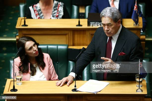 Prime Minister Jacinda Ardern looks on while Deputy Prime Minister Winston Peters speaks during the 2018 budget presentation at Parliament on May 17...