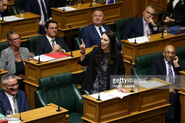 Prime Minister Jacinda Ardern makes a speech at Parliament on November 8 2017 in Wellington New Zealand Labour leader Jacinda Ardern was sworn in on...