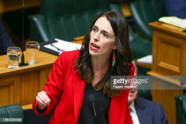 Prime Minister Jacinda Ardern makes an adjournment speech at Parliament on August 06, 2020 in Wellington, New Zealand. Parliament will be dissolved...