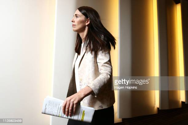 Prime Minister Jacinda Ardern makes an exit after a post cabinet press conference at Parliament on January 29 2019 in Wellington New Zealand