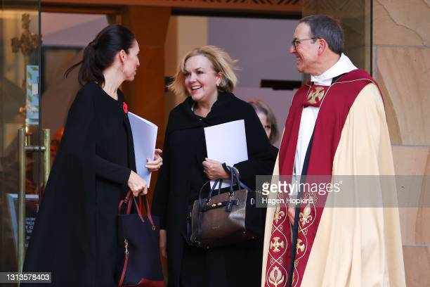 Prime Minister Jacinda Ardern , National Party leader Judith Collins and the Very Reverend David Rowe talk after the State Memorial Service for...