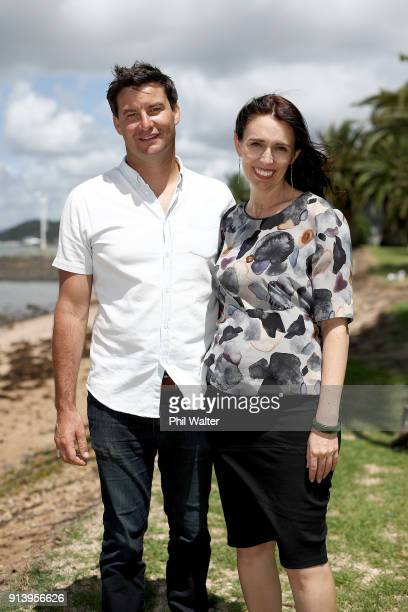 Prime Minister Jacinda Ardern poses with her partner Clarke Gayford on February 4, 2018 in Waitangi, New Zealand. Ardern and Gayford are expecting...