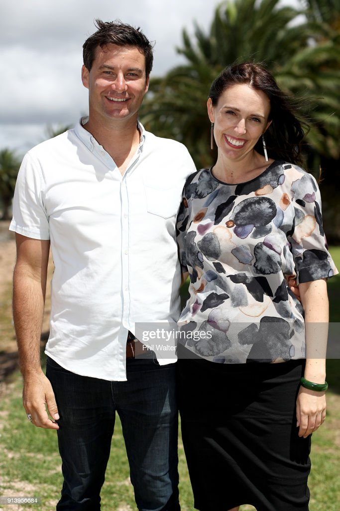 NZ Prime Minister Jacinda Ardern And Clarke Gayford Pose Following Pregnancy Announcement