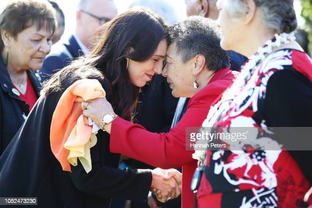 Prime Minister Jacinda Ardern receives a Maori hongi ahead of announcing funding for North Shore and Whangarei Hospitals on October 19, 2018 in...