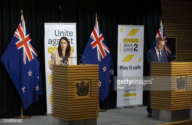 Prime Minister Jacinda Ardern speaks at a press conference on May 25 2020 in Wellington New Zealand Cabinet will meet today to begin discussions on...