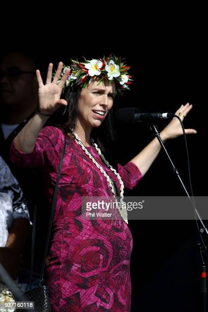 Prime Minister Jacinda Ardern speaks at the Pasifika Festival at Western Springs on March 24 2018 in Auckland New Zealand The annual festival now in...