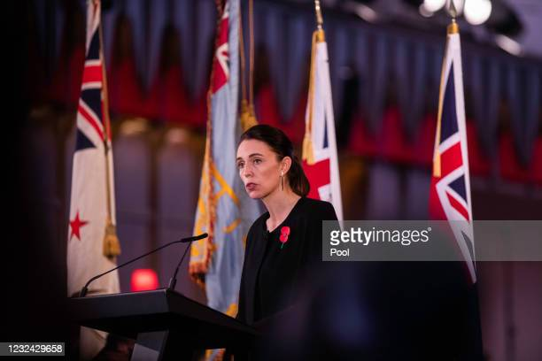 Prime Minister Jacinda Ardern speaks at the State Memorial service for Duke Of Edinburgh, Prince Philip at the Wellington Cathedral of St Paul on...