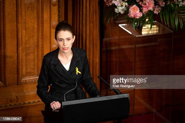 Prime Minister Jacinda Ardern speaks at the tenth anniversary of Pike River Mine disaster held at Legislative Council Chamber at Parliament on...