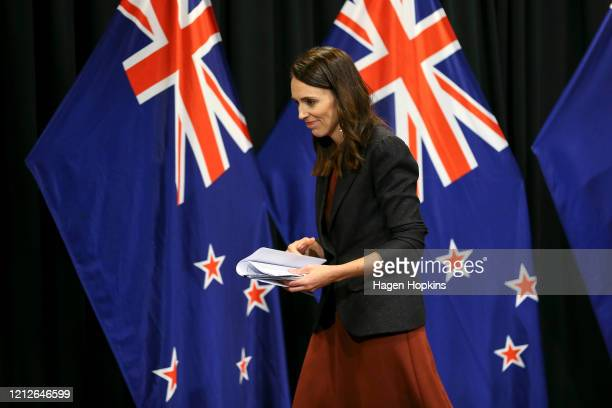 Prime Minister Jacinda Ardern speaks during a post cabinet press conference at Parliament on March 16, 2020 in Wellington, New Zealand. Strict new...