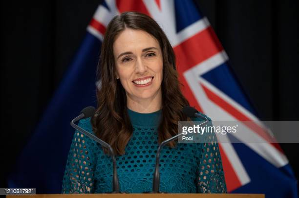 Prime Minister Jacinda Ardern speaks during her COVID-19 update media conference at Parliament on April 22, 2020 in Wellington, New Zealand. Prime...