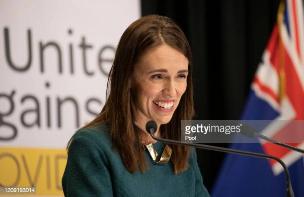 Prime Minister Jacinda Ardern speaks during her postCabinet media update at Parliament on April 6 2020 in Wellington New Zealand New Zealand has been...
