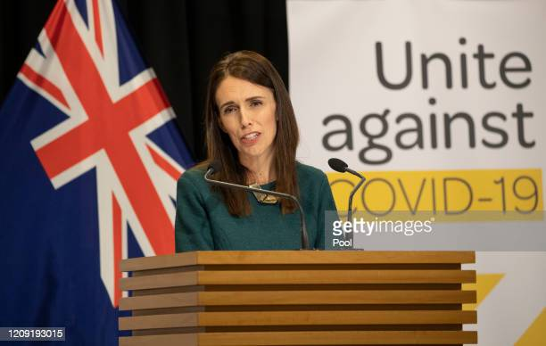 Prime Minister Jacinda Ardern speaks during her post-Cabinet media update at Parliament on April 6, 2020 in Wellington, New Zealand. New Zealand has...