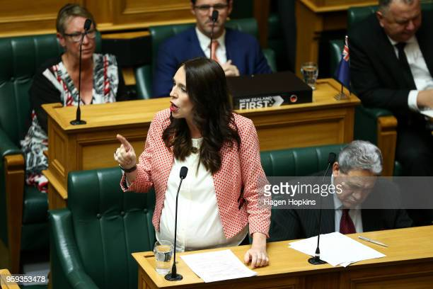 Prime Minister Jacinda Ardern speaks during the 2018 budget presentation at Parliament on May 17 2018 in Wellington New Zealand Grant Robertson...