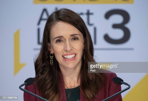 Prime Minister Jacinda Ardern speaks during the All of Government Covid-19 update and media conference at Parliament on May 6, 2020 in Wellington,...