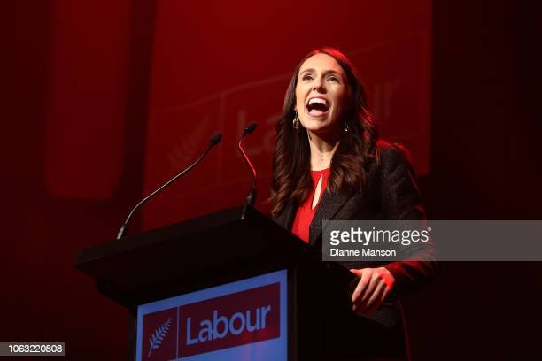 Prime Minister Jacinda Ardern speaks during the Labour Party Conference on November 4 2018 in Dunedin New Zealand The Labour Party Annual Conference...