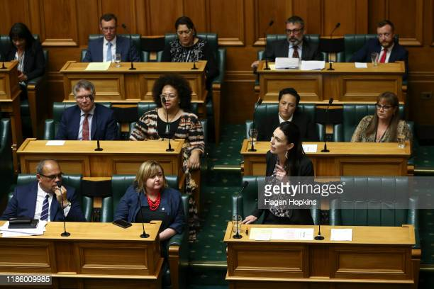 Prime Minister Jacinda Ardern speaks in the house during the third reading of the The Zero Carbon bill at Parliament on November 07, 2019 in...