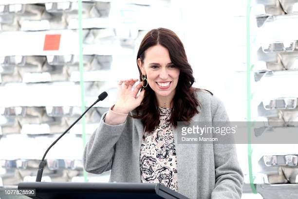 Prime Minister Jacinda Ardern speaks to guests during her visit to the Tiwai Point Aluminium Smelter on December 06 2018 in Invercargill New Zealand...