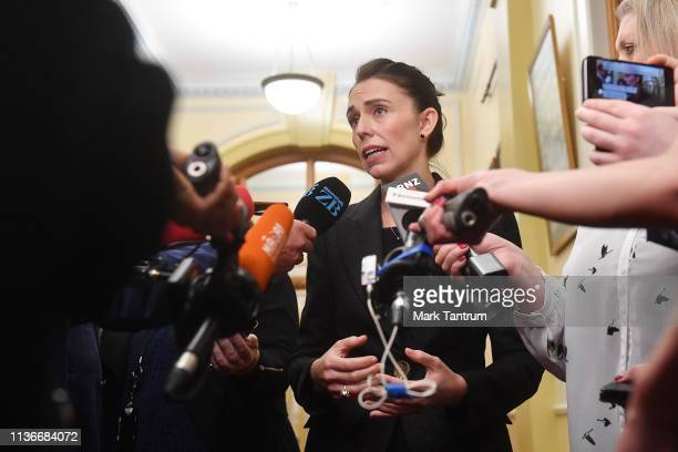 Prime Minister Jacinda Ardern speaks to media at Parliament as New Zealand considers gun law reforms on March 19 2019 in Wellington New Zealand 50...
