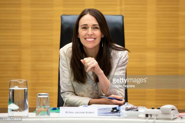 Prime Minister Jacinda Ardern speaks to media during a cabinet meeting at Parliament on January 29, 2019 in Wellington, New Zealand.