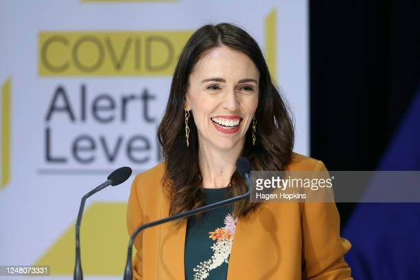 Prime Minister Jacinda Ardern speaks to media during a post cabinet press conference at Parliament on June 08, 2020 in Wellington, New Zealand. Prime...