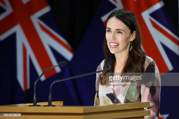 Prime Minister Jacinda Ardern speaks to media during a post cabinet press conference at Parliament on March 01, 2021 in Wellington, New Zealand....
