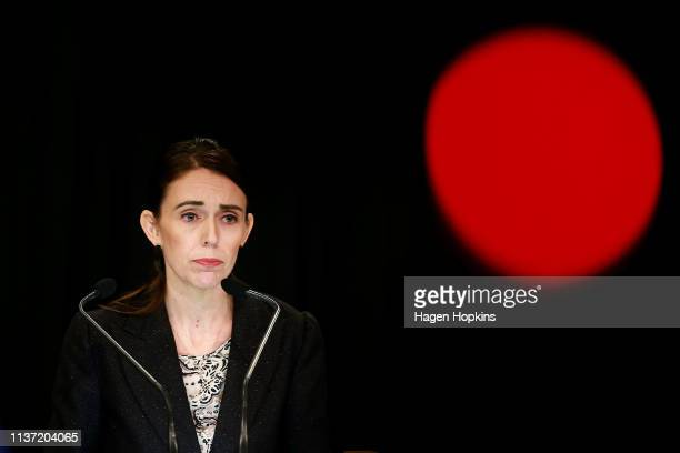 Prime Minister Jacinda Ardern speaks to media during a press conference at Parliament on March 21, 2019 in Wellington, New Zealand. Prime Minister...