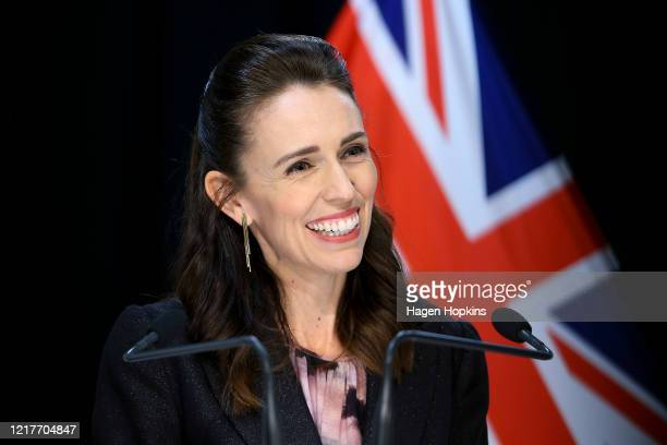 Prime Minister Jacinda Ardern speaks to media during a press conference at Parliament on April 09 2020 in Wellington New Zealand New Zealand has been...