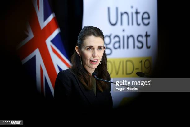 Prime Minister Jacinda Ardern speaks to media during a press conference at Parliament on May 05, 2020 in Wellington, New Zealand. No new COVID-19...