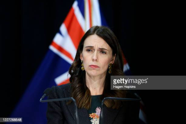 Prime Minister Jacinda Ardern speaks to media during a press conference at Parliament on May 27, 2020 in Wellington, New Zealand. COVID-19 Alert...