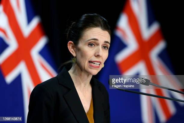 Prime Minister Jacinda Ardern speaks to media during a press conference at Parliament on August 24, 2020 in Wellington, New Zealand. Prime Minister...