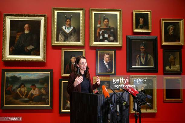 Prime Minister Jacinda Ardern speaks to media during a press conference at the Museum of New Zealand Te Papa on May 28 2020 in Wellington New Zealand...