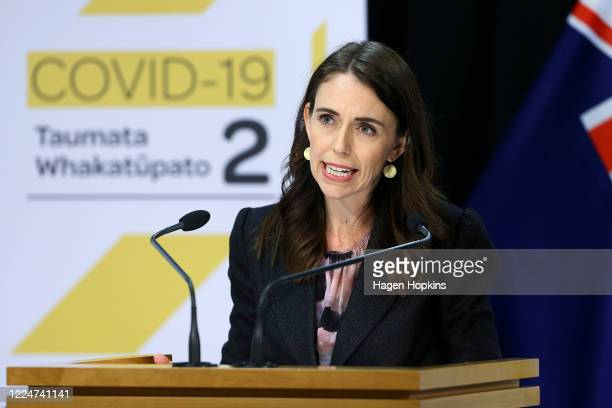 Prime Minister Jacinda Ardern speaks to media during a press conference on Budget 2020 delivery day at Parliament May 14 2020 in Wellington New...
