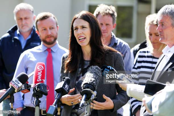 Prime Minister Jacinda Ardern speaks to media during a visit to Julie and Bryce Stevenson's beef farm on October 9 2018 in Masterton New Zealand The...