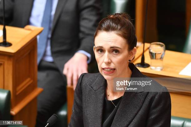 Prime Minister Jacinda Ardern speaks to the house at Parliament on March 19 2019 in Wellington New Zealand 50 people were killed and dozens are still...