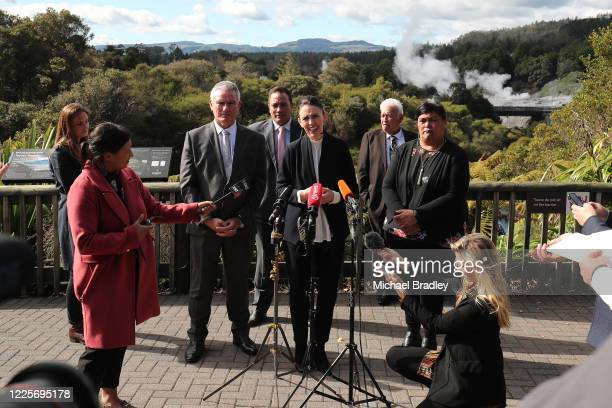 Prime Minister Jacinda Ardern speaks to the media at Te Puia New Zealand Māori Arts and Crafts Institute on May 19 2020 in Rotorua New Zealand Prime...