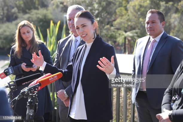 Prime Minister Jacinda Ardern speaks to the media on May 19 2020 in Rotorua New Zealand Prime Minister Jacinda Ardern is visiting the Rotorua region...