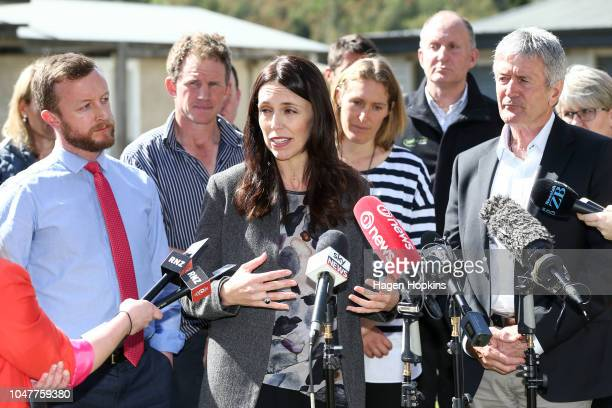 Prime Minister Jacinda Ardern speaks while Biosecurity Minister Damien OÕConnor MP Kieran McAnulty along with Julie and Bryce Stevenson look on...