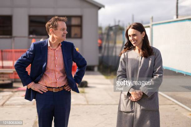 Prime Minister Jacinda Ardern speaks with Mark Oldershaw during a visit to Weltec School of Construction on May 15 2020 in Wellington New Zealand...