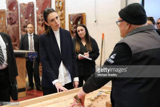Prime Minister Jacinda Ardern takes a tour of Te Puia New Zealand Māori Arts and Crafts Institute on May 19 2020 in Rotorua New Zealand Prime...