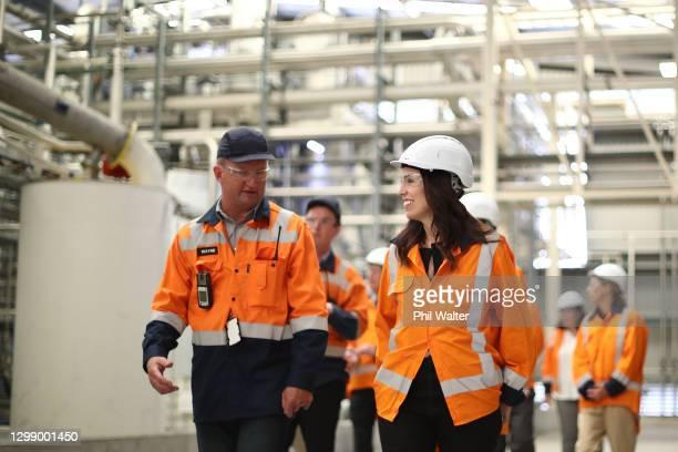 Prime Minister Jacinda Ardern views the Z Energy biodiesel plant in Wiri on January 28, 2021 in Auckland, New Zealand. Prime Minister Jacinda Ardern...