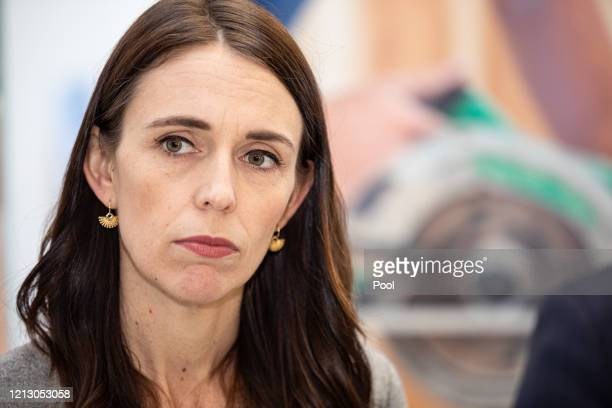 Prime Minister Jacinda Ardern visits Weltec School of Construction on May 15 2020 in Wellington New Zealand Ardern visited WelTec and Whitireia...