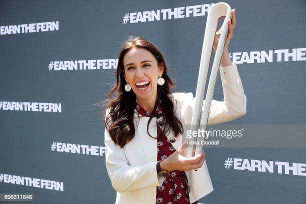 Prime Minister Jacinda Ardern with the Queens Baton during the Queens Baton Relay at Victoria Park on December 21 2017 in Auckland New Zealand