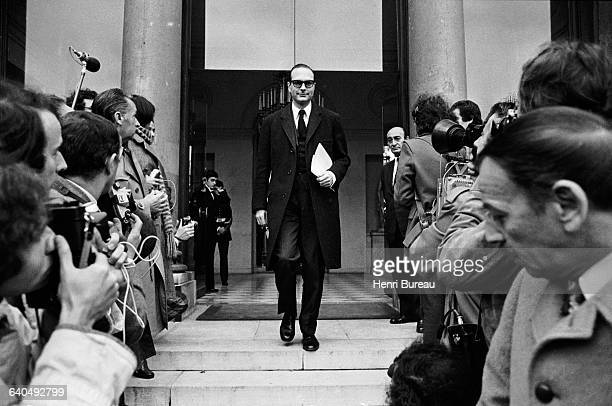 Prime Minister Jacques Chirac leaves the Elysee Presidential Palace after a council of Ministers